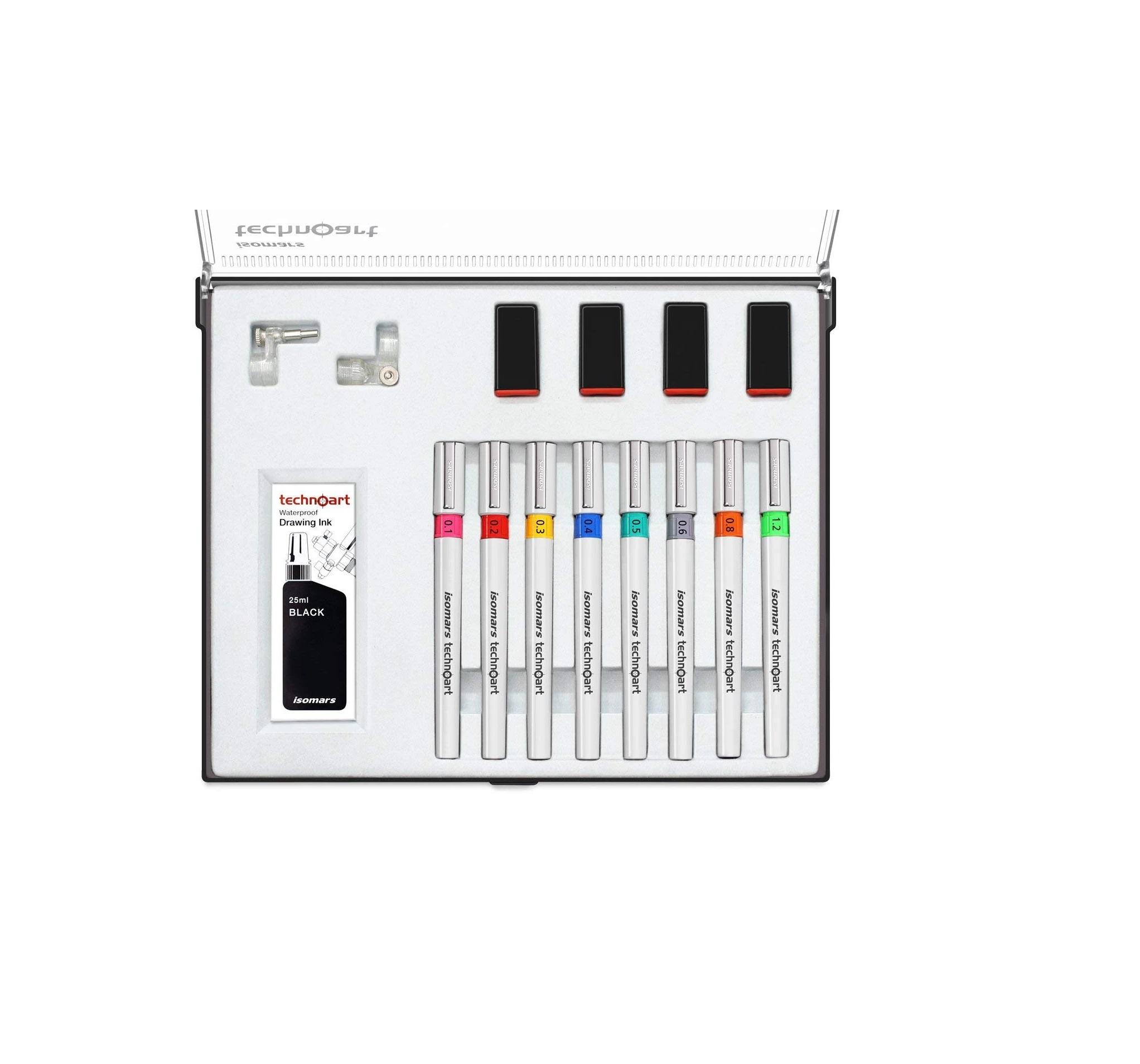 ISOMARS TECHNOART TECHNICAL DRAWING PEN SET OF 8