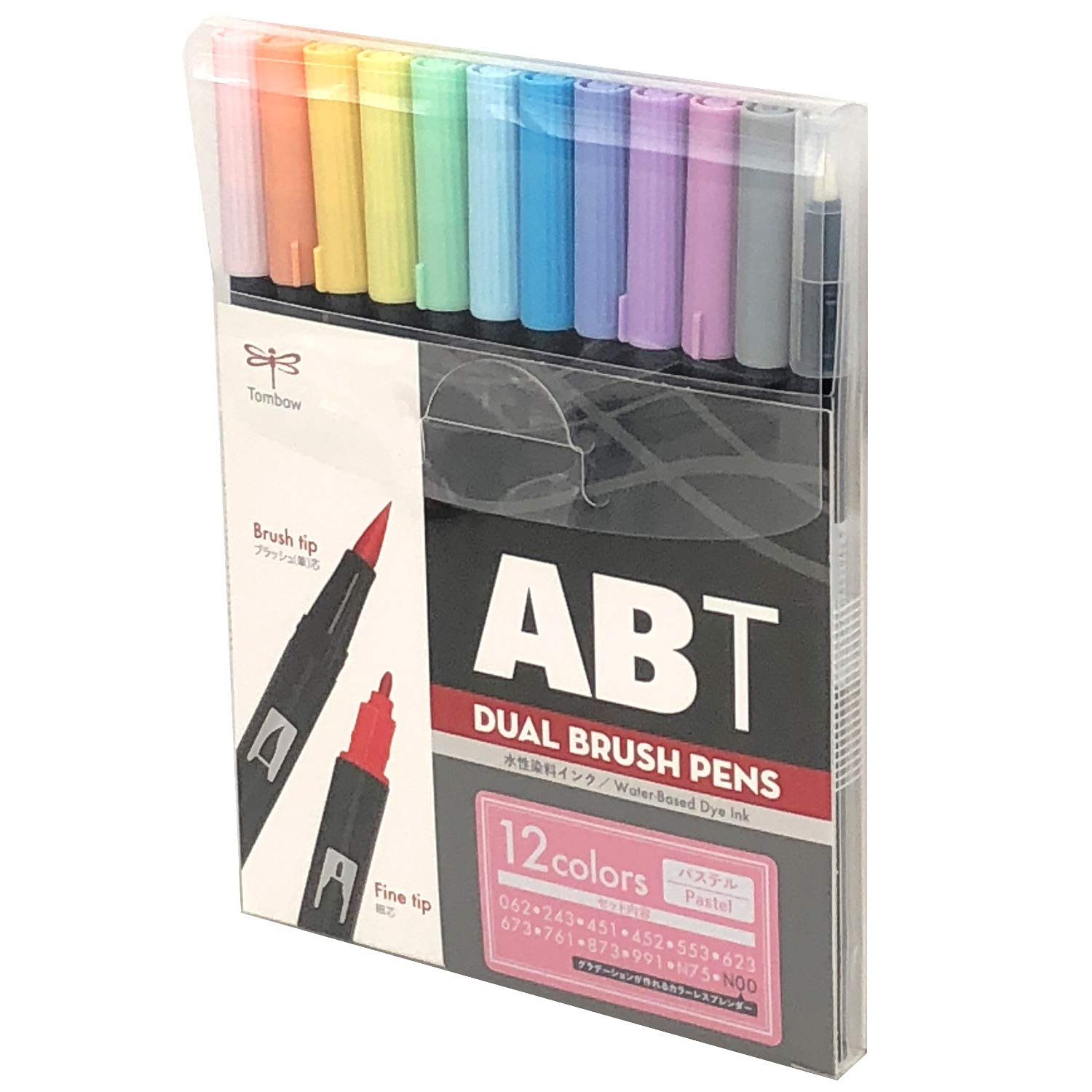 Tombow ABT Dual Brush Pen Set of 12, Pastel Colours AB-T12CPA