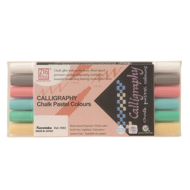ZIG Memory System Calligraphy Chalk Pastel Colours 6 Colour Set, MS-6400/6V