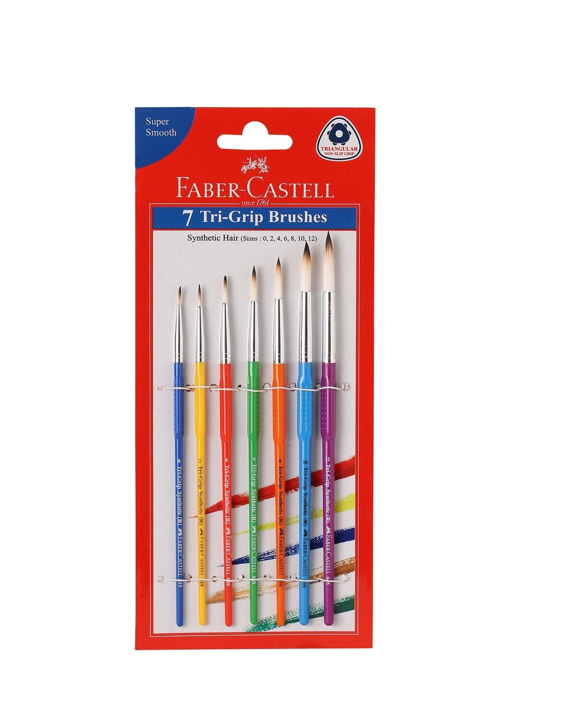 Faber-Castell Tri-Grip Brush - Round, Pack of 7 (Assorted)