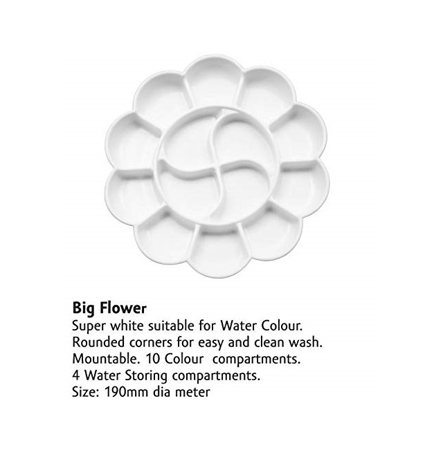 KHYATI Big Flower Shape Colour Mixing Palette/Tray for Artist/Students A034