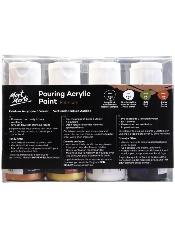 Mont Marte Premium Pouring Acrylic Paint 60ml (2oz) 4pc Set - Celestial