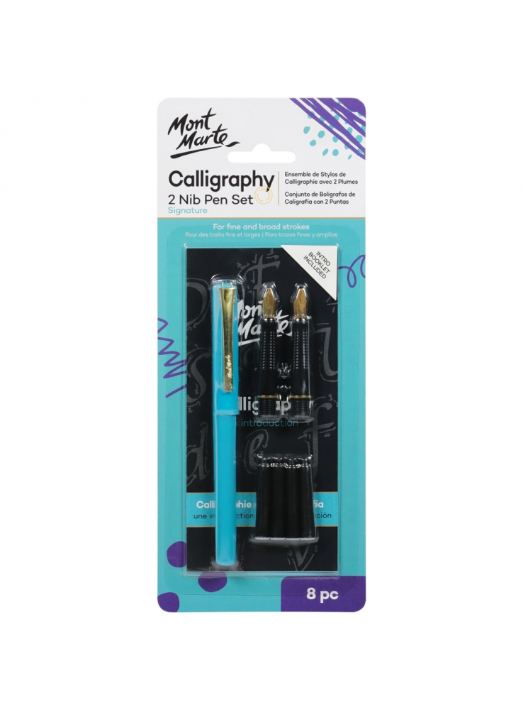 Mont Marte Calligraphy 2 Nib Pen Set Signature 8pc