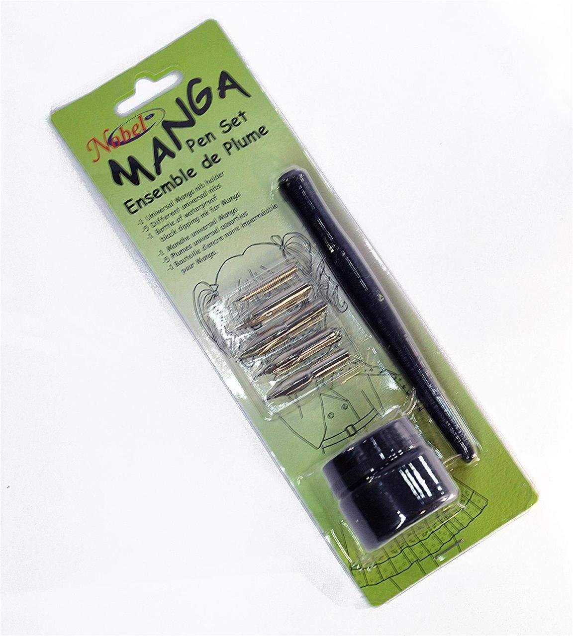 Nobel Manga Calligraphy Dip Pen Set with Universal Nib Holder
