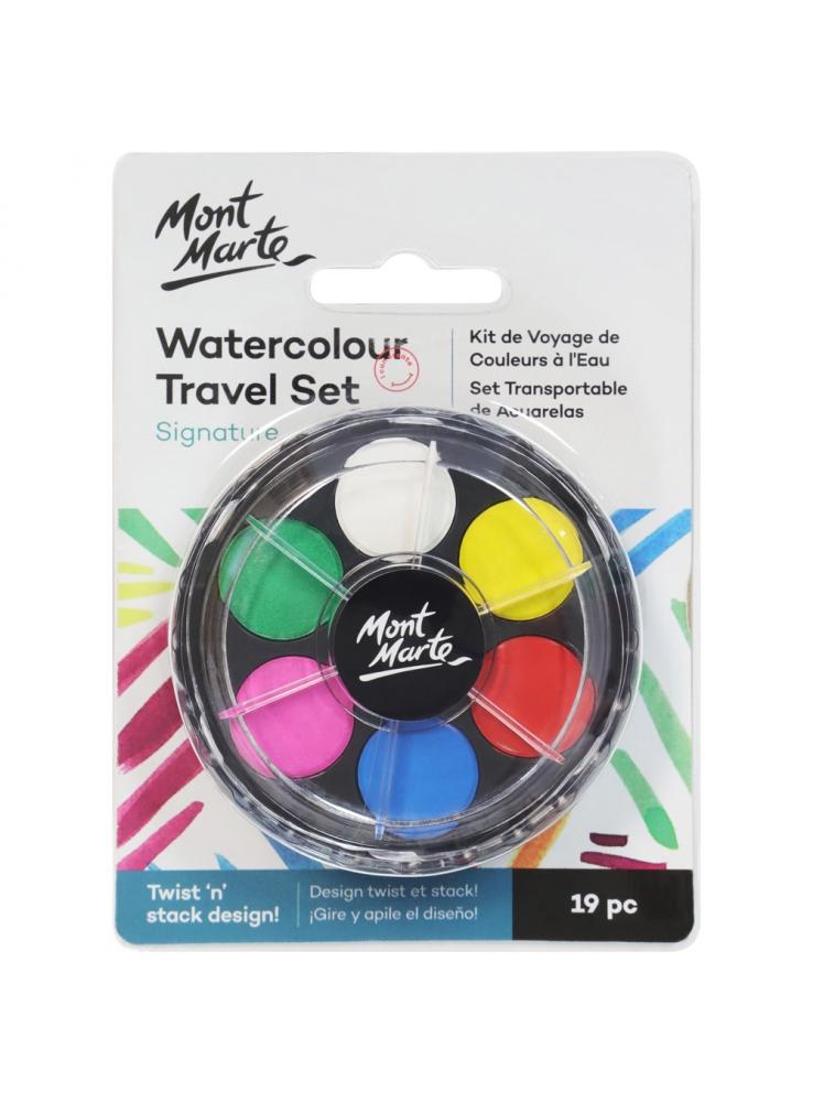 Mont Marte Signature Watercolour Travel Set - 19pce