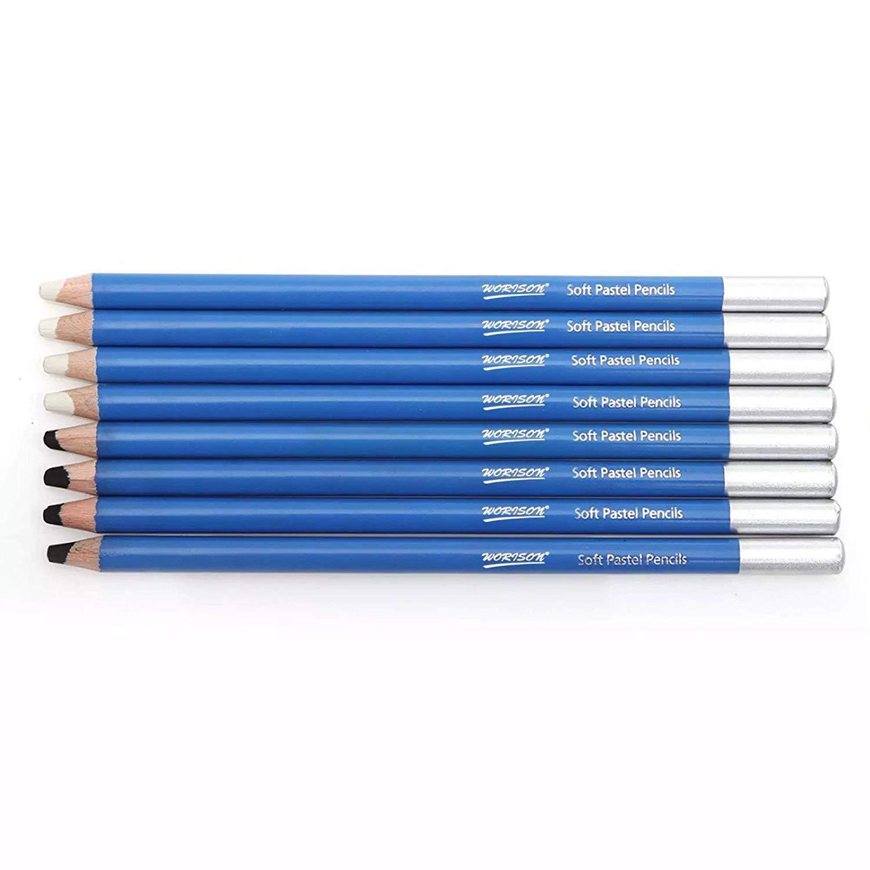 Worison Soft Pastel Pencils,White and Black - 8 Piece