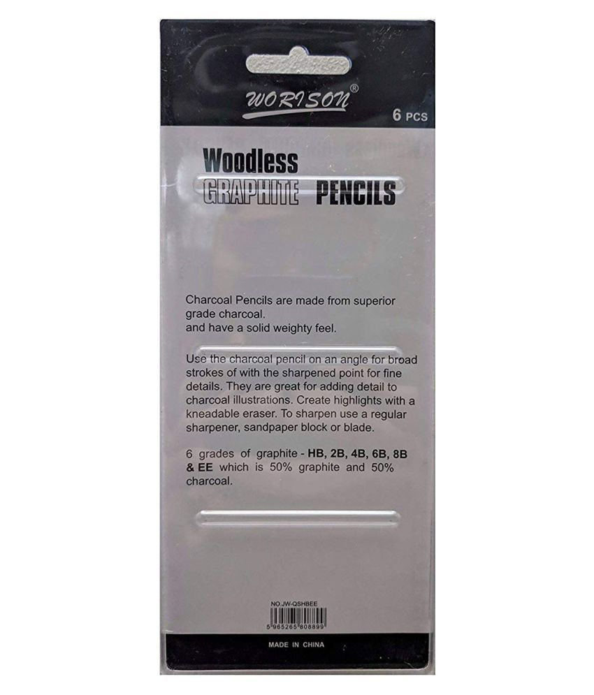 Worison Woodless Graphite Pencils of 6 pcs, 6 Grades of Graphite -HB, 2B, 4B, 6B, 8B and EE