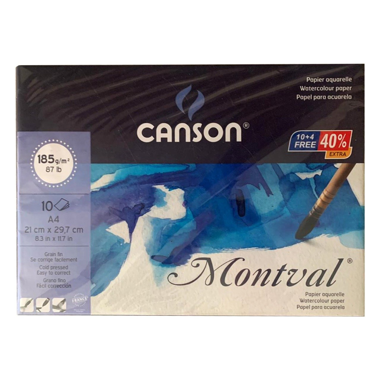 Canson Montval A4 Pad of 10 Fine Grain Sheets 185gsm