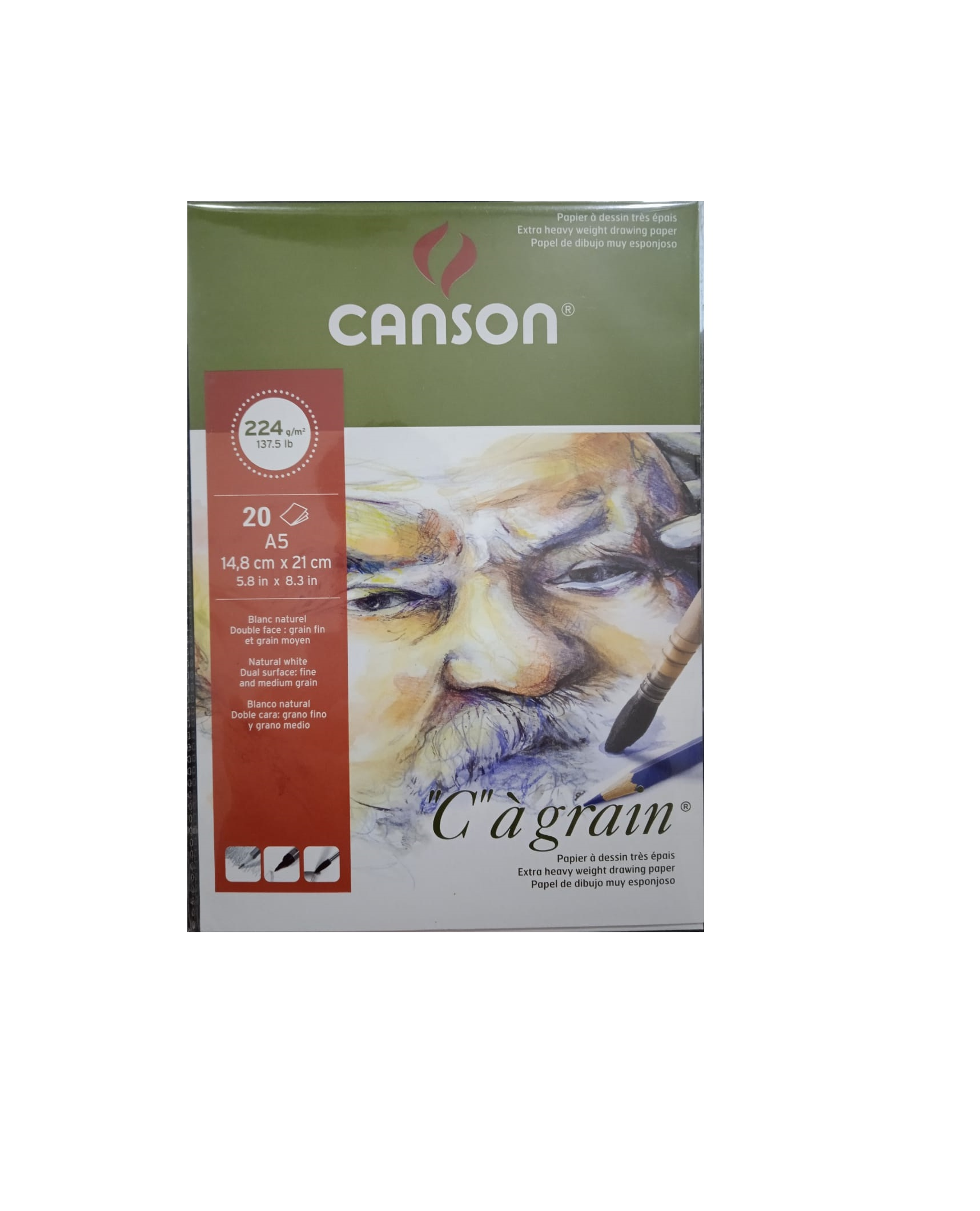 CANSON C-A GRAIN 224GSM DRAWING PAPER A5 SIZE (20 SHEETS)