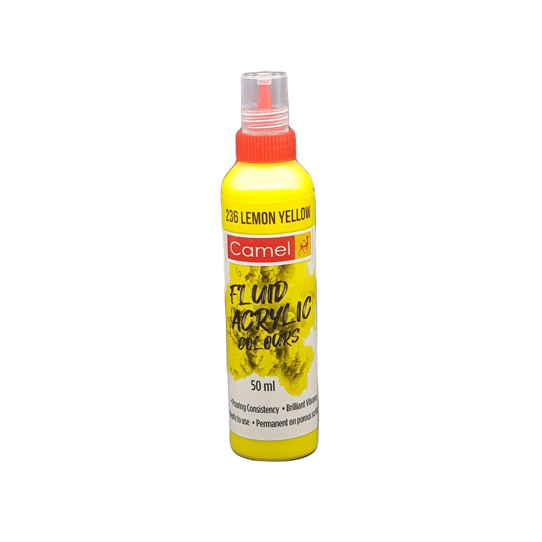 Camel Fluid Acrylic Colours 50ml  236 Lemon Yellow