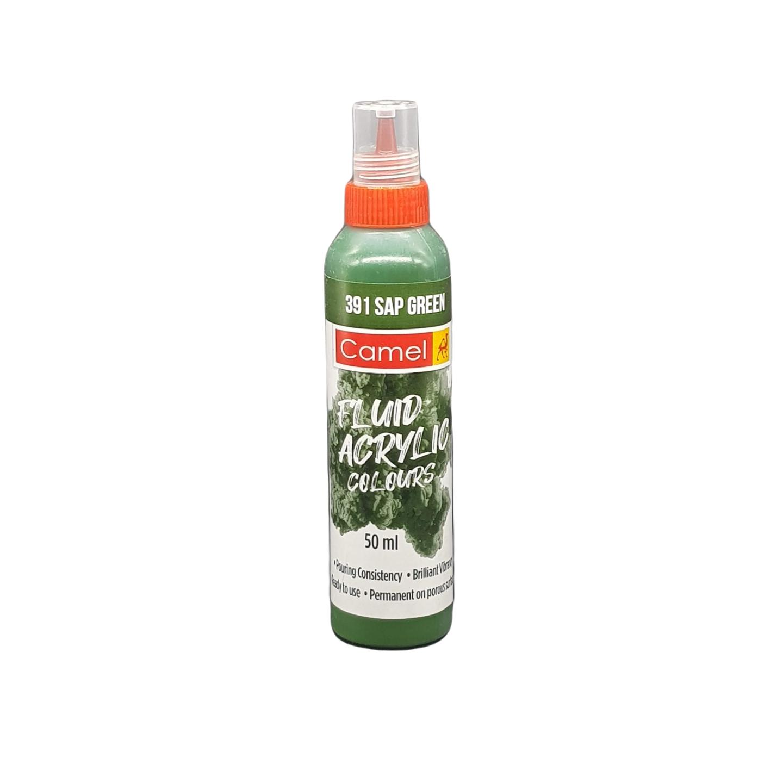 Camel Fluid Acrylic Colours 50ml 391 Sap Green