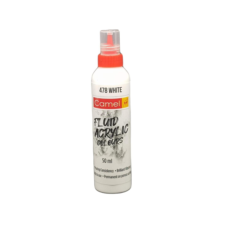 Camel Fluid Acrylic Colours 50ml 478 White