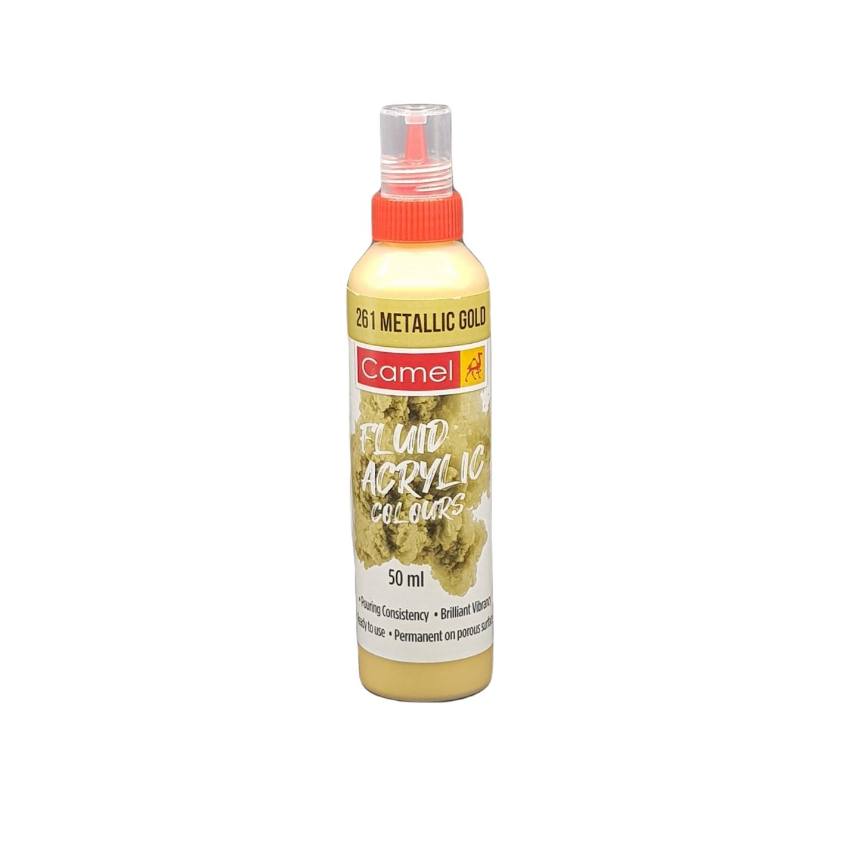 Camel Fluid Acrylic Colours 50ml 261 Metallic Gold