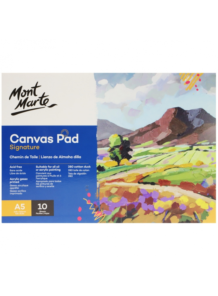 Mont Marte Signature Canvas Pad 10 Sheet A5 (5.8 x 8.3in)
