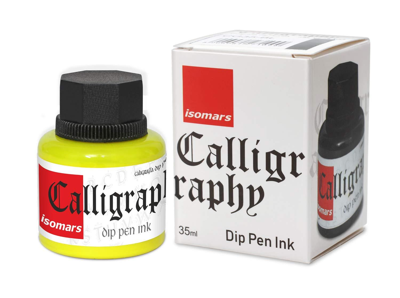 Isomars Calligraphy Dip Pen Ink 35ml - Lemon Yellow