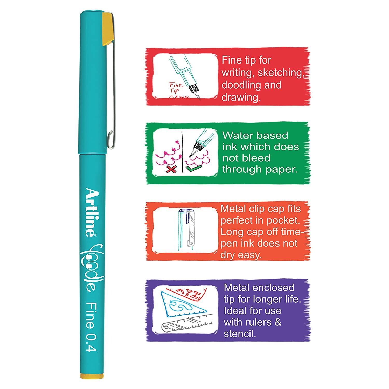 Artline Yoodle Fine Line Pen Set - Pack of 15
