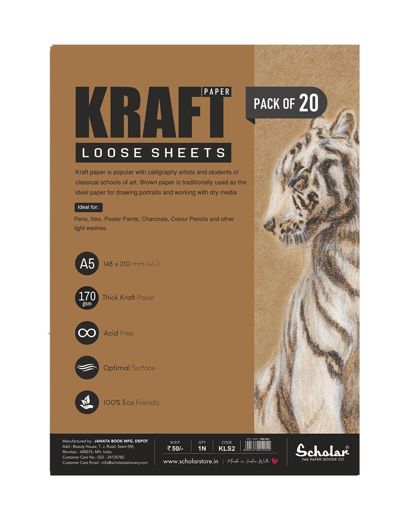 Scholar A5 KRAFT PAPER LOOSE SHEETS (KLS2) - 170 GSM