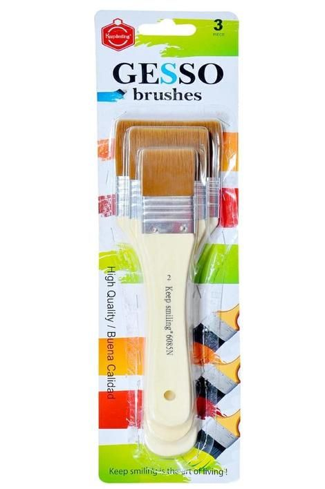 Keep Smiling Professional Gesso Brushes Flat Tip -3pcs - 2,4,6