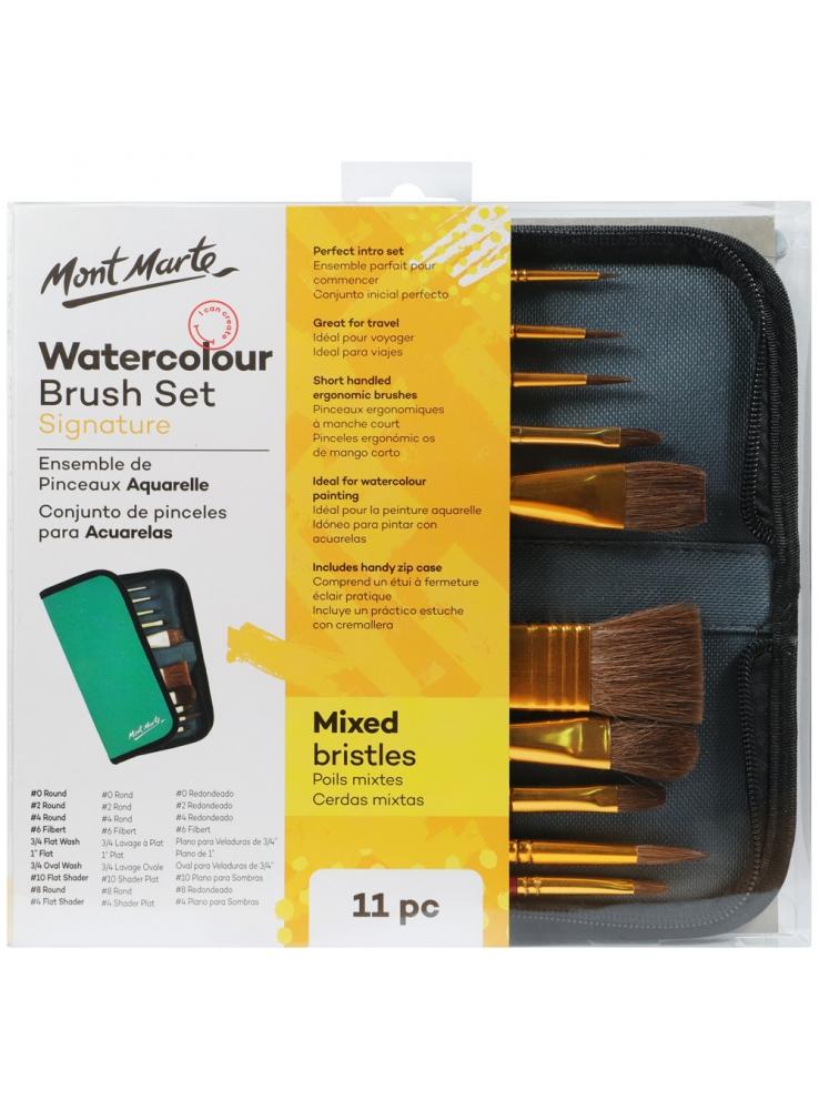 Mont Marte Mixed Bristle Brush Set Wallet 11pce - Watercolour