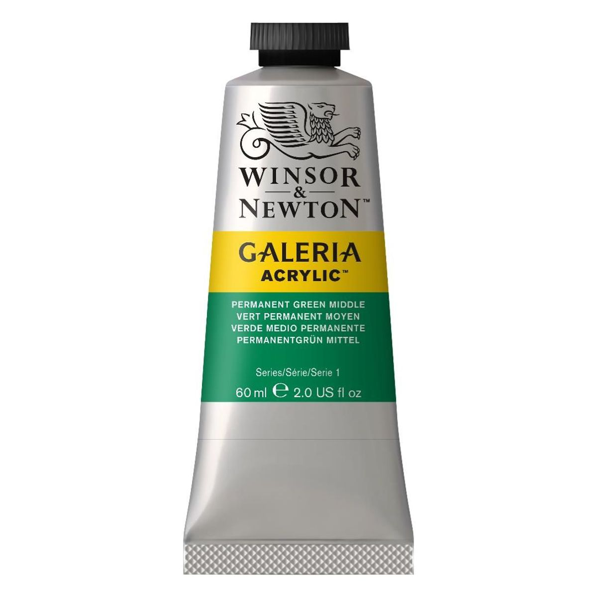 WINSOR AND NEWTON GALERIA ACRYLIC COLOUR - TUBE OF 60 ML - PERMANENT GREEN MIDDLE (484)