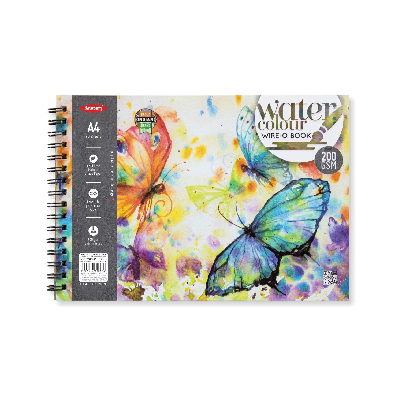 ANUPAM Watercolour Paper Book Sketchbook Spiral Binding 200gsm (White, A4) - 20 Sheets