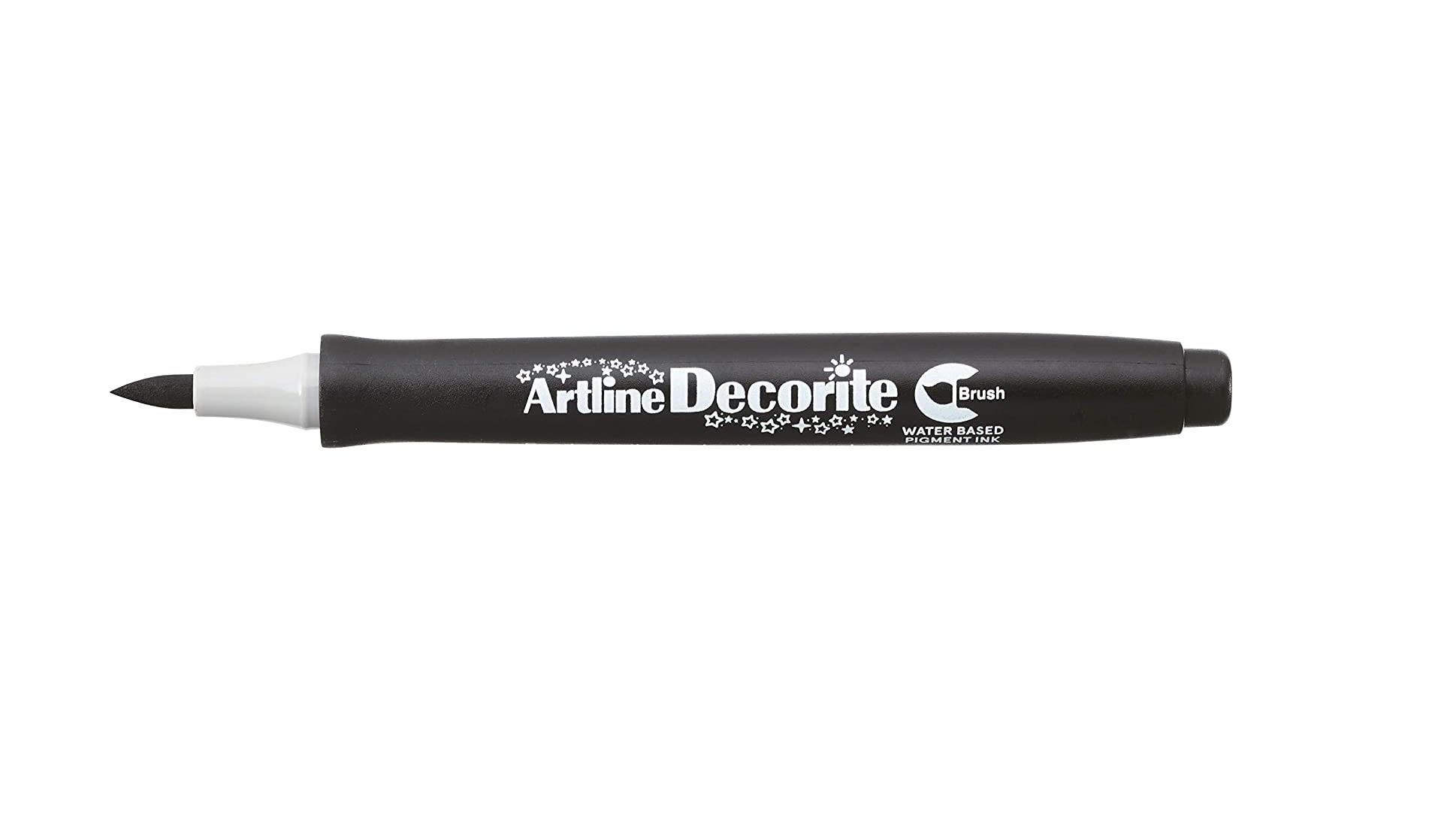 Artline Decorite Brush Marker Pen for Card, Glass, Metal and Plastic (Black)