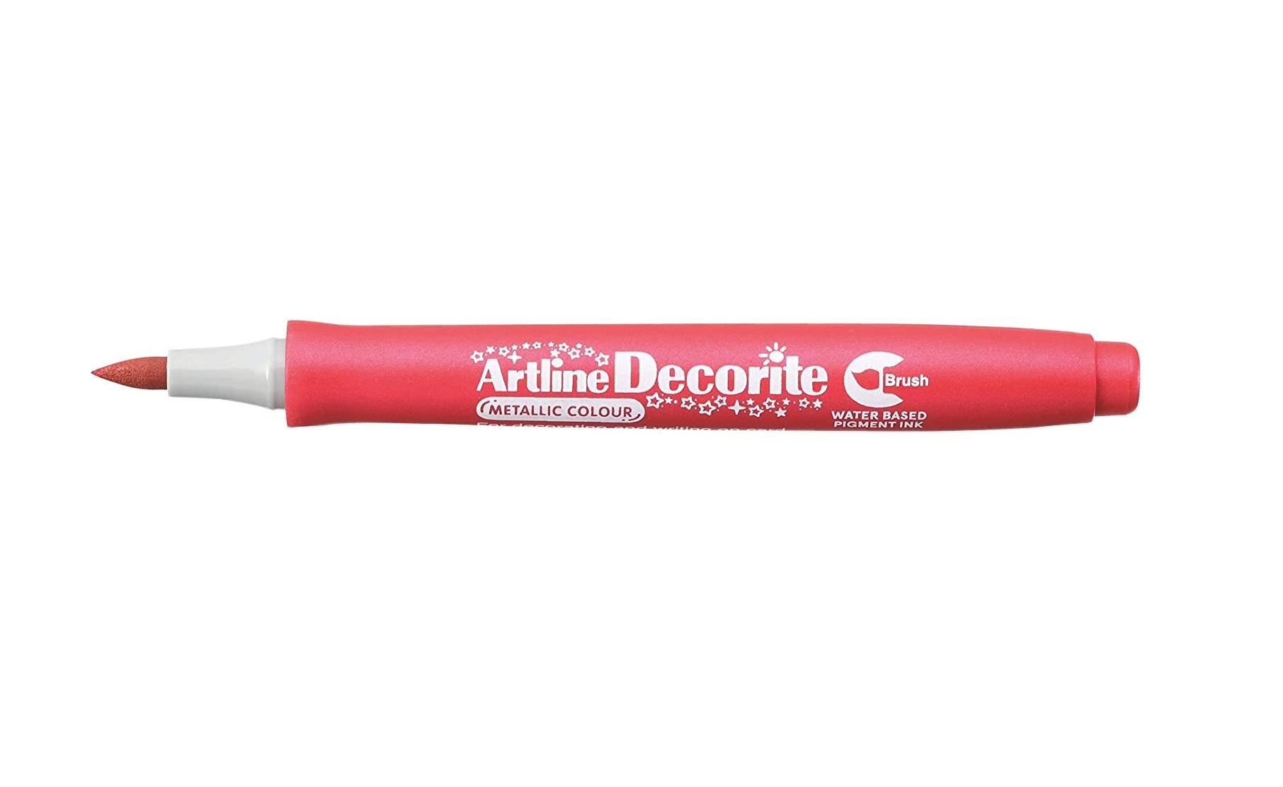 Artline Decorite Brush Marker Pen for Card, Glass, Metal and Plastic (Metallic Red)