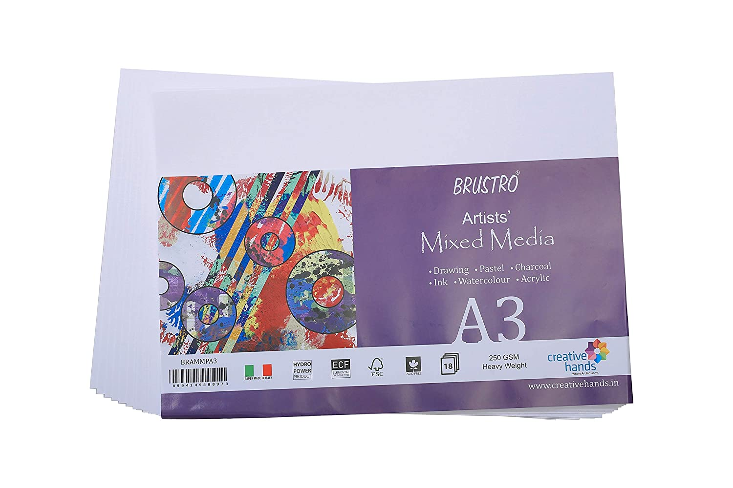 Brustro Artists Mixed Media Paper 250 GSM Size - A3, 18 Sheets