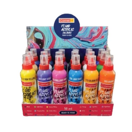 Camel Fluid Acrylic Colours Set of 18 Shades
