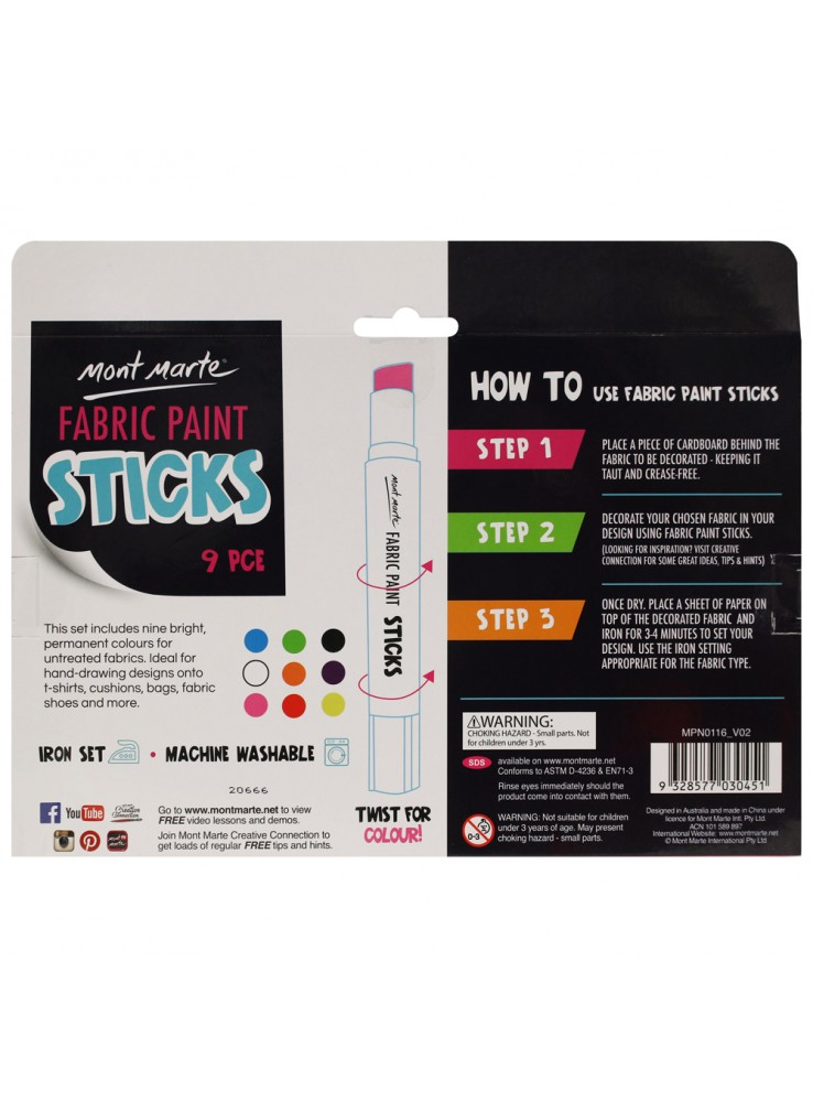 Mont Marte Solid Fabric Paint Sticks 9pce x 5g