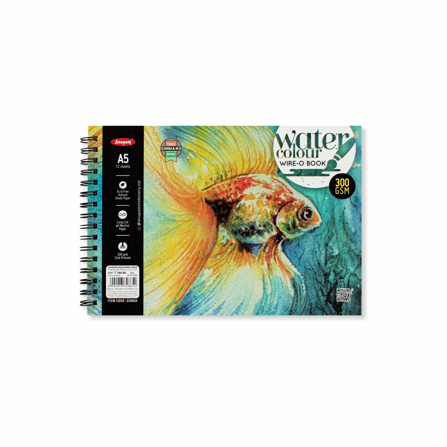 Anupam Water Colour Wire-O Book A5 300Gsm 12 Sheets
