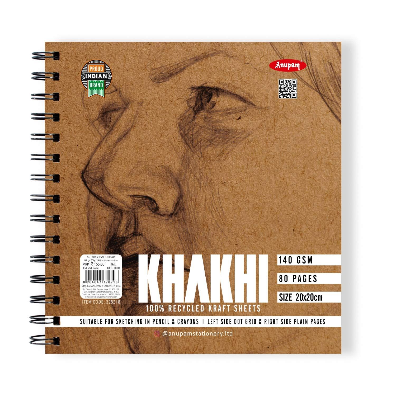 Anupam Drawing Pads Sketch Book Square (20x20 cm, Khaki)