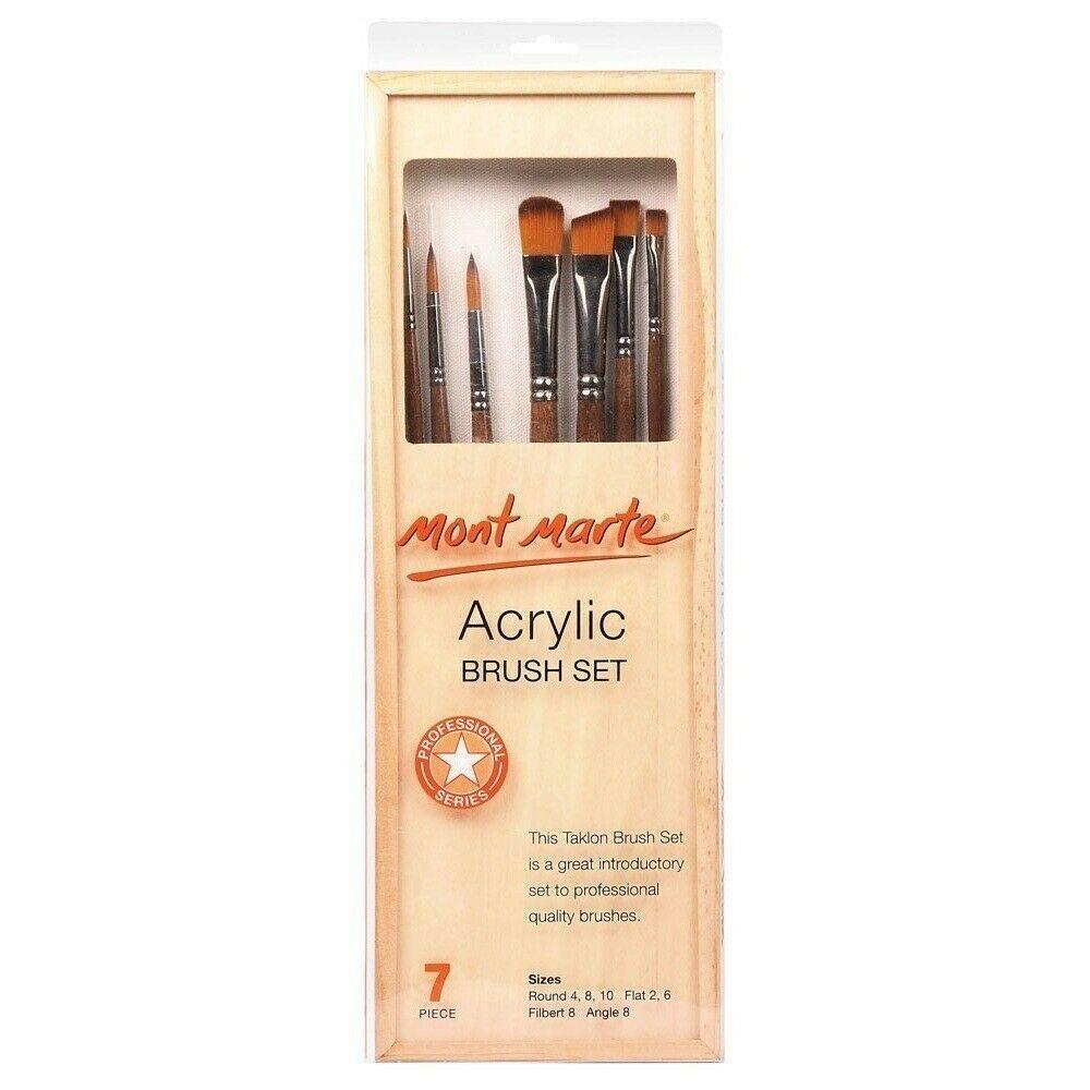Mont Marte Acrylic Brush Set in Box - 7pce