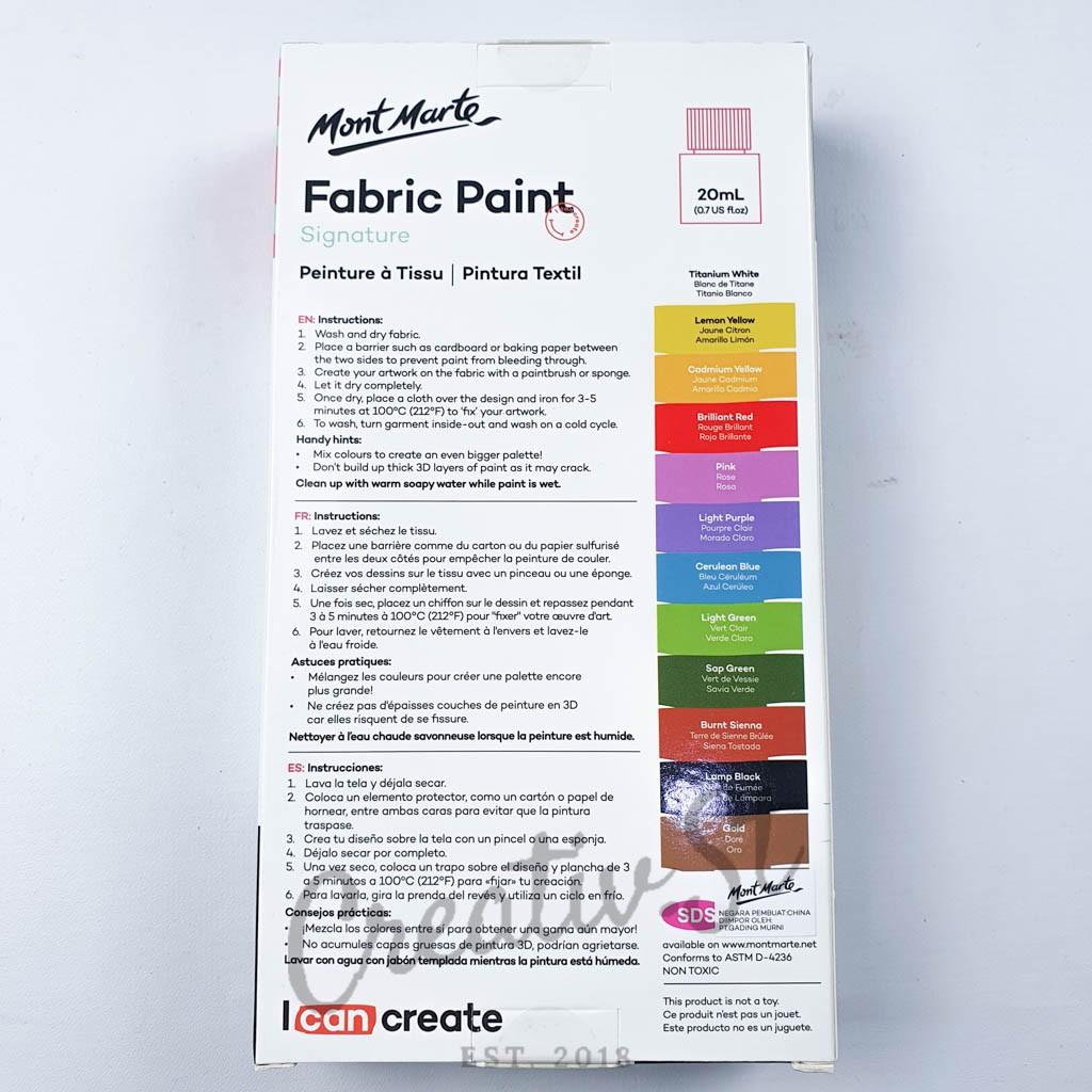 Mont Marte Signature Fabric Paint 12 Color 20 Ml