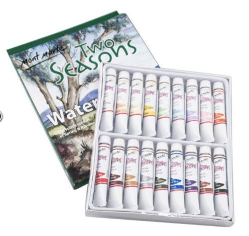Mont Marte Watercolour Paint Set Two Seasons 12ml 18 Color