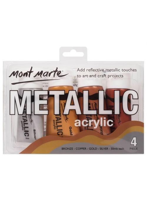 Mont Marte-Acrylic Paint Metallic 4X50ml Set