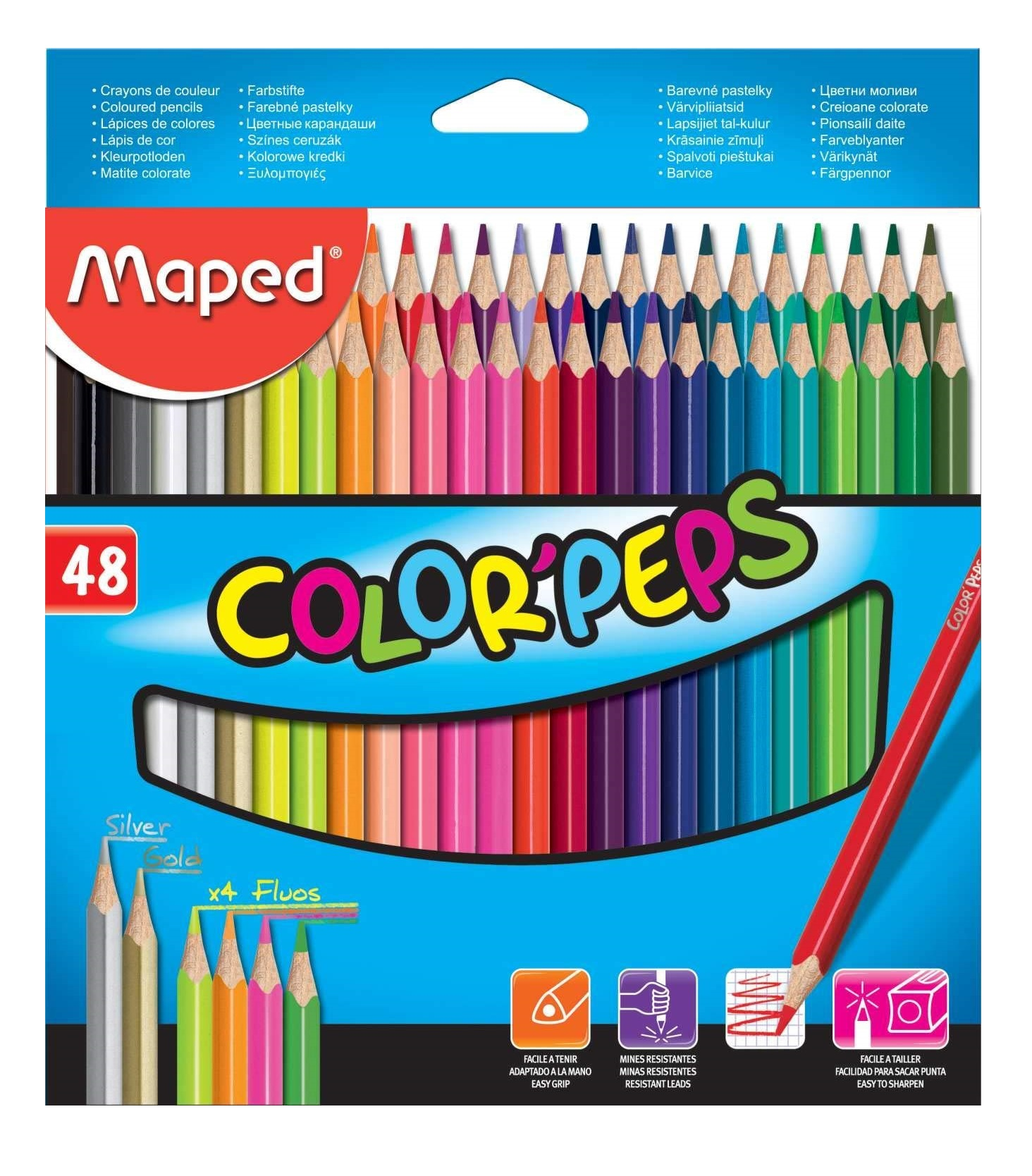 Maped Color Peps Color Pencil Set - Pack of 48 (Multicolor)